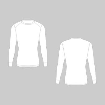 Intimo termico invernale da uomo davanti e dietro. modelli vuoti di t-shirt a maniche lunghe. abbigliamento da rash guard maschile isolato. esempio di illustrazione tecnica.