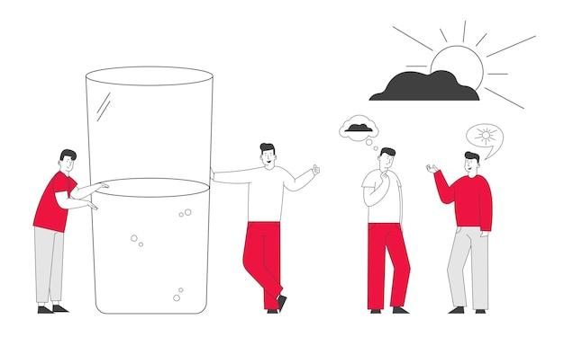 Gli uomini con pensieri cattivi e buoni in testa stanno davanti a un enorme bicchiere mezzo pieno o vuoto con acqua.
