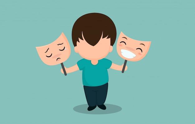 Uomini con sintomi bipolari Vettore Premium