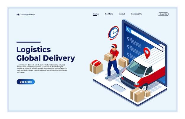 Un uomo con una pagina di destinazione del concetto di rete logistica globale isometrica
