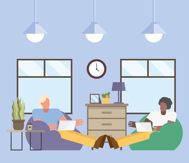 Uomini con laptop lavorando su puf da casa design del tema del telelavoro illustrazione vettoriale
