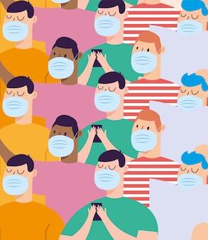 Uomini con sfondo di maschere