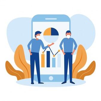 Uomini con maschere e infografica su smartphone