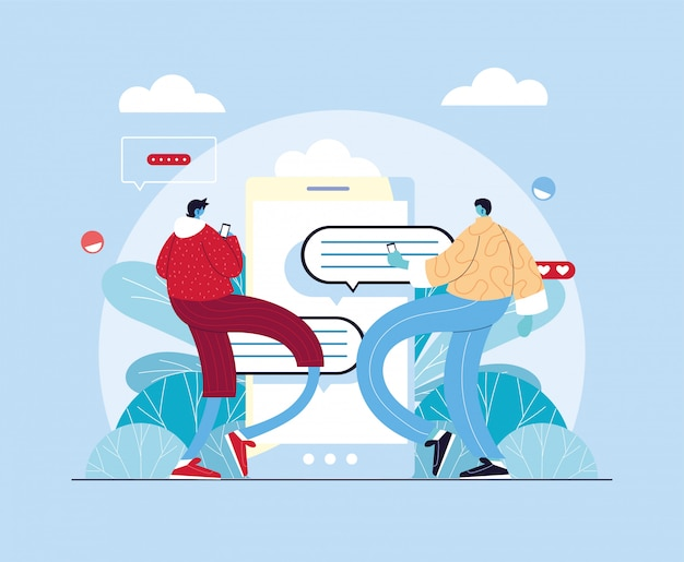 Uomini con smartphone in chat, chat bubble
