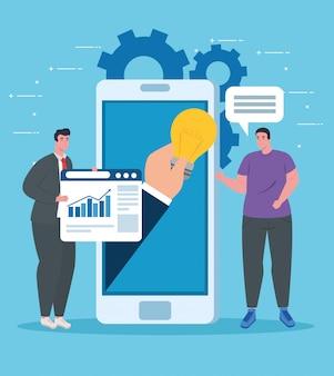 Uomini con smartphone e sito web design vettoriale