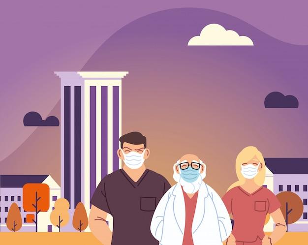 Uomini e donna medico con maschera davanti al design della città di cure mediche e tema virus 19 covid