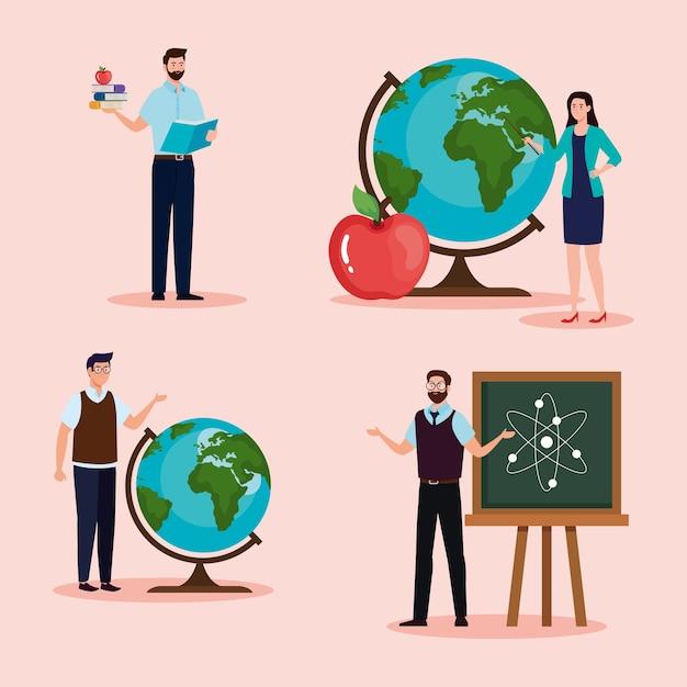 Insegnanti di uomini e donne con lavagna verde e design di sfere di mondi, celebrazione della giornata degli insegnanti e tema educativo