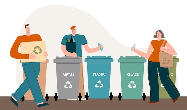 Personaggi di uomini e donne che hanno a cuore l'ambiente e mettono la spazzatura nei cassonetti per riciclare e...