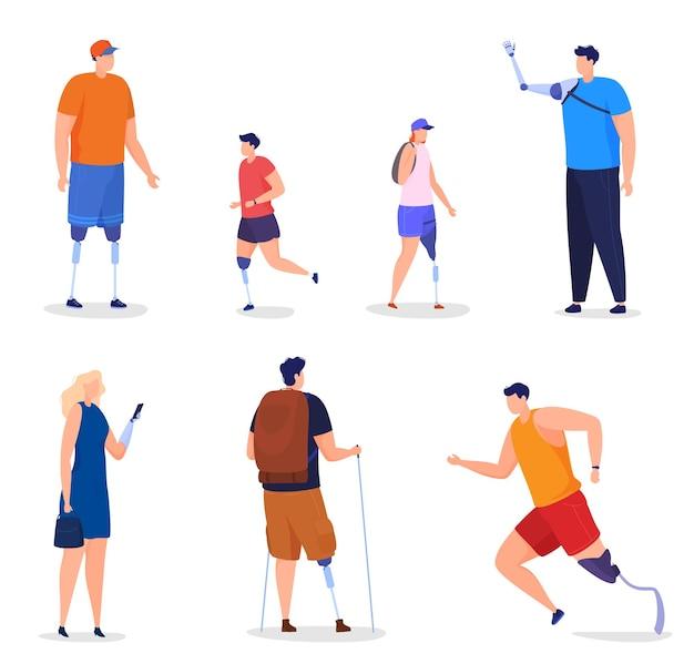 Uomini, donne e bambini con braccia e gambe protesiche. le persone disabili vivono una vita piena, corrono, fanno escursioni in montagna. illustrazione colorata in stile cartone animato piatto.