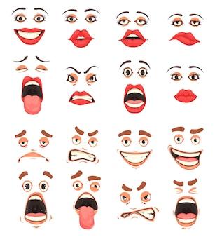 Uomini donne carino bocca labbra occhi espressioni facciali gesti grottesco fumetto emozioni fumetto grande set illustrazione vettoriale