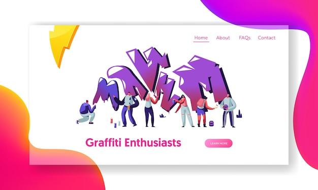 Uomini e donne che disegnano con la vernice sul muro di mattoni. artisti di strada adolescenti che dipingono graffiti, stile di vita teenager, pagina di destinazione del sito web di attività dei giovani, pagina web
