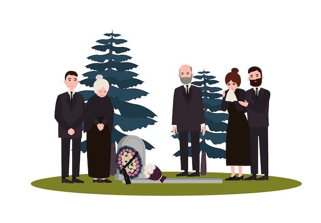 Uomini e donne vestiti con abiti da lutto in piedi vicino alla tomba con lapide e corona. persone in lutto o famiglia sul cimitero o cimitero. illustrazione vettoriale colorato in stile cartone animato piatto.