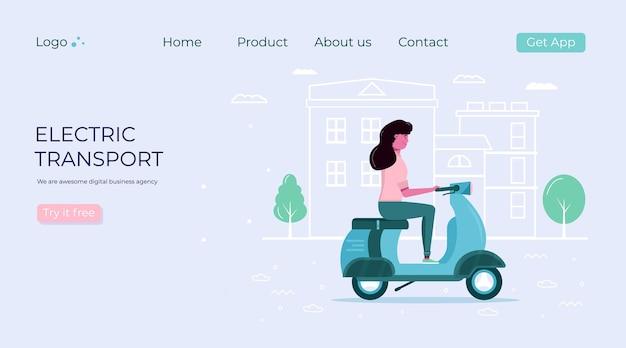 Uomini e donne guidano il trasporto ecologico della città nel concetto di città. trasporto personale elettrico, scooter elettrico verde, hoverboard, giroscooter, monociclo e bici. set di veicoli ecologici