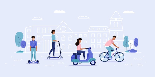 Uomini e donne guidano il trasporto urbano ecologico nel parco pubblico. trasporto personale elettrico, scooter elettrico verde, hoverboard, giroscooter, monociclo e bici. veicolo ecologico, concetto di vita in città