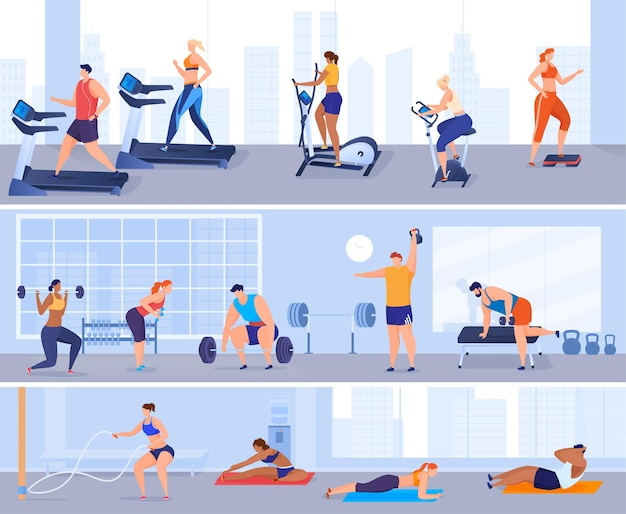 Uomini e donne praticano sport in palestra. ginnastica, macchine per esercizi, sollevamento pesi. mantenere il corpo in buona forma fisica. illustrazione colorata in stile cartone animato piatto.