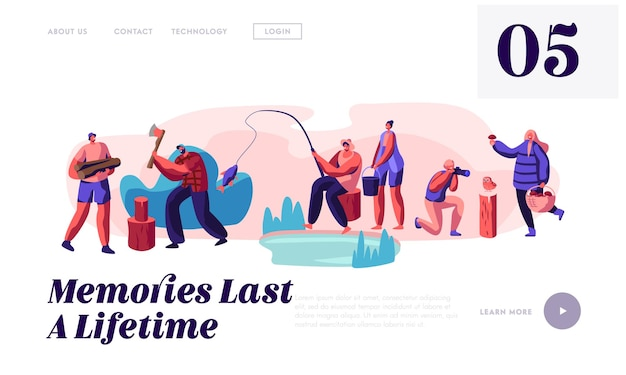 Uomini e donne che si rilassano, pescano, scattano foto, raccolgono funghi, modello di pagina di destinazione del sito web