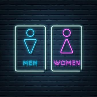 Elementi dell'insegna al neon del bagno di uomini e donne