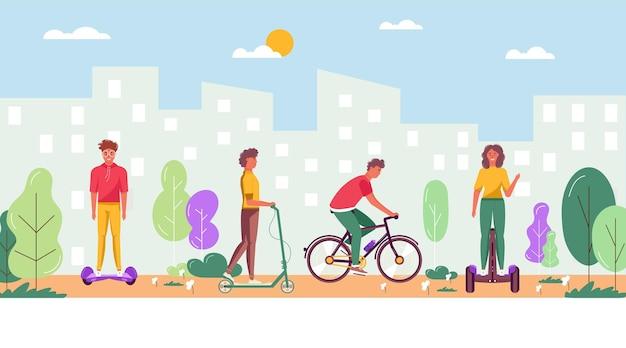 Uomini e donne che camminano, guidano il trasporto urbano eco nel parco urbano. trasporto personale elettrico, scooter elettrico verde, hoverboard, giroscooter, monociclo e bici. attività ecologica per il tempo libero all'aperto