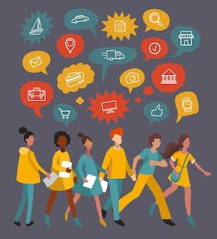 Uomini e donne che camminano insieme a fumetti, icone piatte. persone minimaliste che condividono idee, parlano, chiacchierano. illustrazione vettoriale utilizzata per web, social network, app utenti.