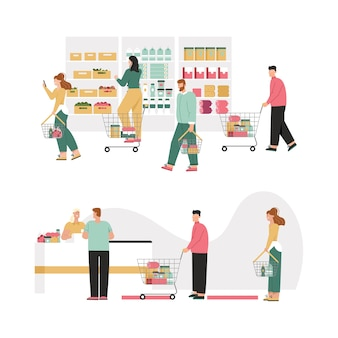 Uomini e donne con cestini o carrello della spesa scelgono prodotti, scaffali di assortimento.