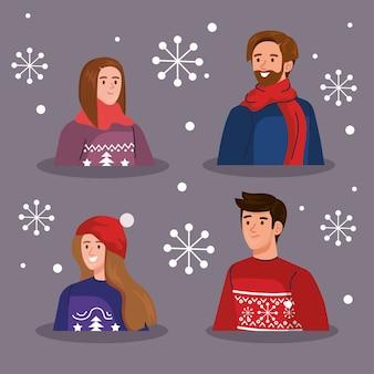 Uomini e donne con i maglioni di buon natale progettano, la stagione invernale e l'illustrazione del tema della decorazione