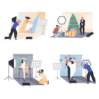 Uomini e donne lavorano come scene concettuali dei fotografi impostano l'illustrazione vettoriale dei personaggi