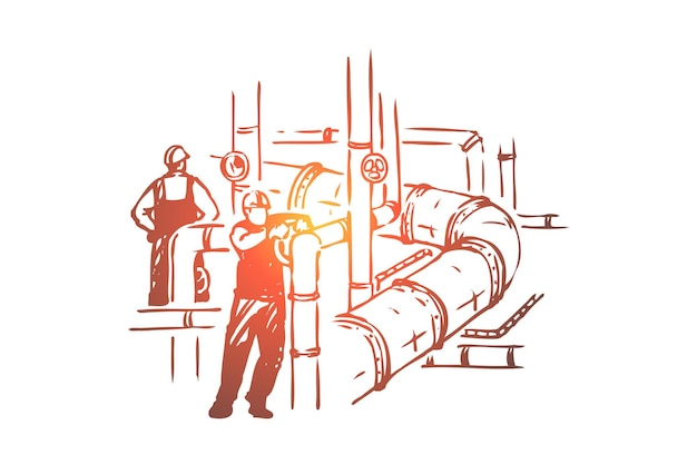 Uomini che lavorano sulla conduttura, controllo di sicurezza, lavoratori nell'illustrazione di elmetti