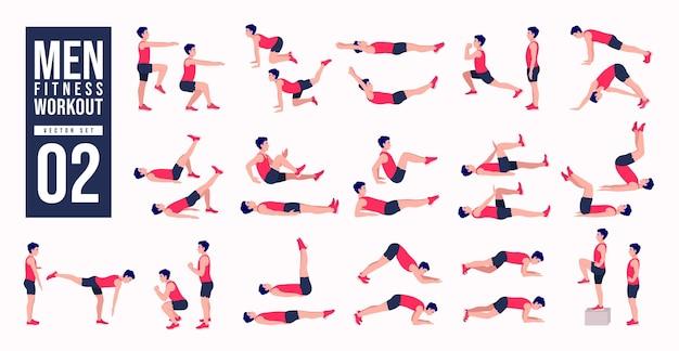 Set di allenamento per uomini set di vettori di esercizi per uomini uomini che fanno esercizi di fitness e yoga