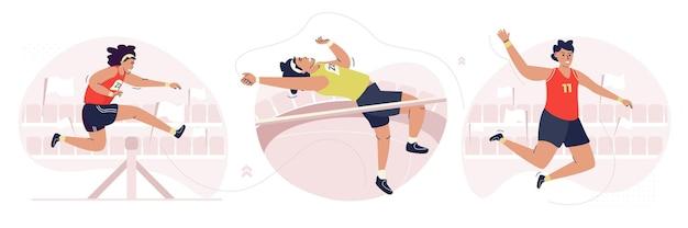 Set di illustrazioni per giochi sportivi atletici da uomo