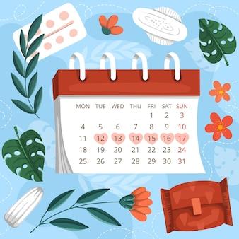 Concetto di calendario mestruale Vettore Premium