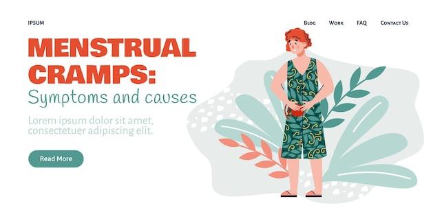 I crampi mestruali fanno male alla pagina di destinazione per l'illustrazione piatta del vettore del fumetto del sito web