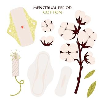 Ciclo mestruale. set piatto con prodotti ecologici - assorbenti mestruali e tampone in cotone.