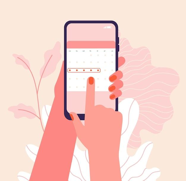 Ciclo mestruale. le mani tengono il calendario dei periodi della donna. applicazione del telefono mestruale, controllo dell'ovulazione. illustrazione di salute femminile di vettore. applicazione mestruale di pianificazione del controllo femminile