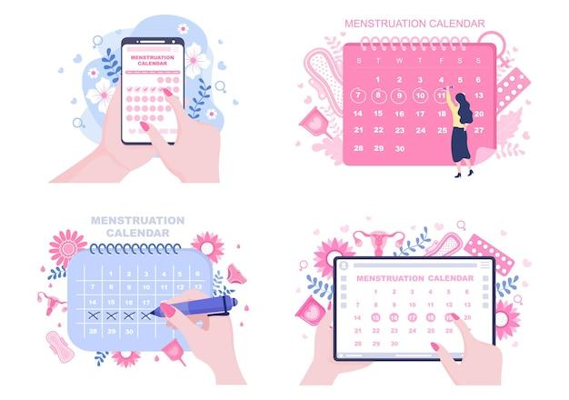 Calendario del periodo mestruale donne per controllare l'illustrazione del ciclo della data