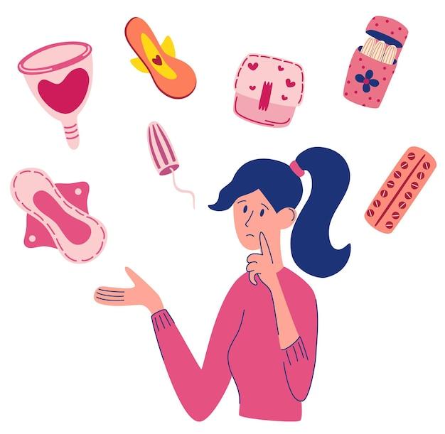 Composizione della donna di pms di mestruazioni. giovane donna che sceglie tra assorbente, tampone e coppetta mestruale. primo ciclo mestruale. articoli per l'igiene personale femminile. illustrazione piana di vettore.