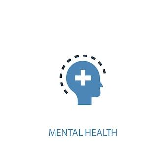Concetto di salute mentale 2 icona colorata. illustrazione semplice dell'elemento blu. disegno di simbolo del concetto di salute mentale. può essere utilizzato per ui/ux mobile e web