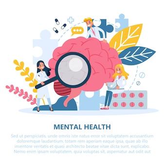 Concetto di salute mentale. il medico cura la mentalità della persona.