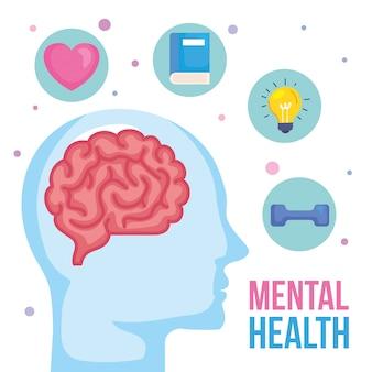 Concetto di salute mentale e profilo umano con icone di salute