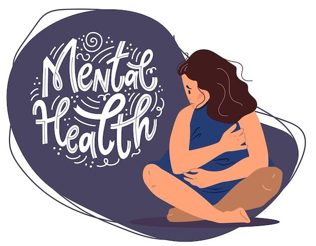 Concetto di salute mentale. donna triste con depressione seduta sul pavimento. illustrazione vettoriale colorato in stile cartone animato piatto