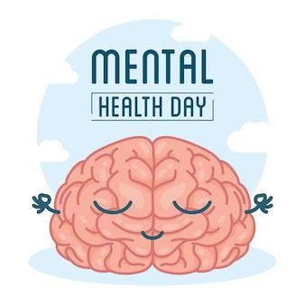 Carta della giornata della salute mentale con personaggio comico del cervello