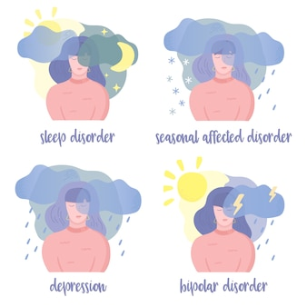 Disturbi mentali Vettore Premium