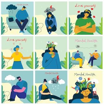 Concetto di illustrazione di salute mentale. interpretazione visiva della psicologia della salute mentale nel design piatto