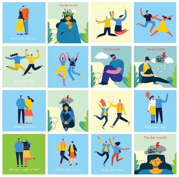 Concetto di illustrazione di salute mentale. giovane uomo e donna con tempesta in testa. interpretazione visiva della psicologia della salute mentale nel design piatto