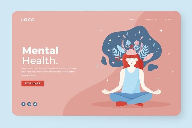 Modello di pagina di destinazione per la salute mentale Vettore Premium