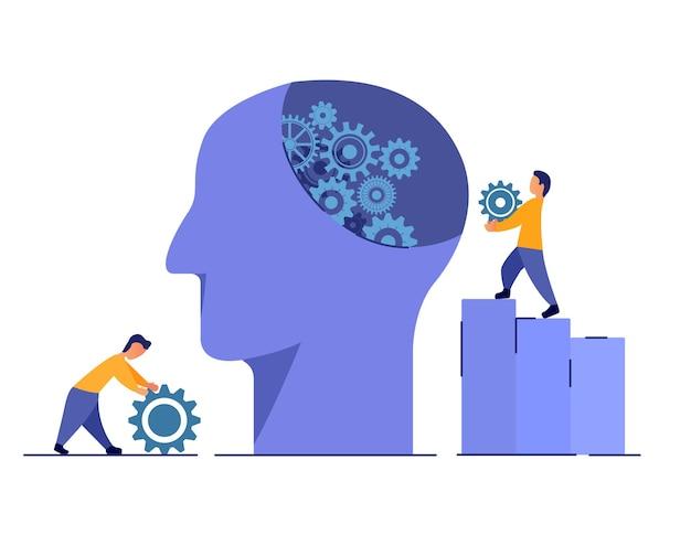Trattamento medico di salute mentale. aiuto psicologico. testa umana con ingranaggi. determinare le cause dei disturbi mentali.
