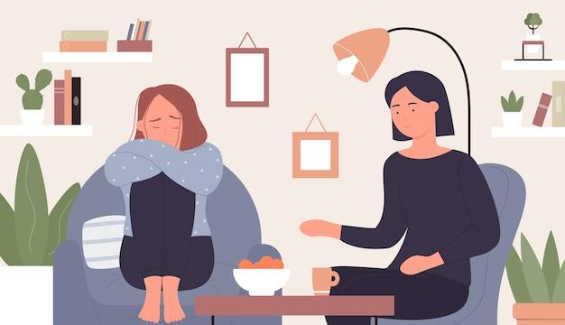 Supporto per la salute mentale, consulente psicologo dei cartoni animati che si prende cura e aiuto, consulenza paziente donna Vettore Premium