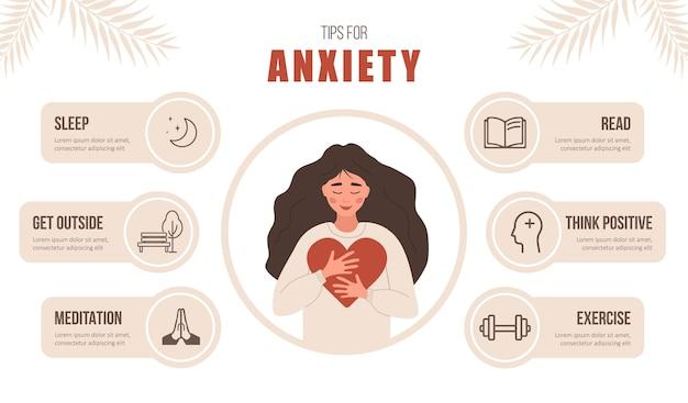 Salute mentale. suggerimenti per l'ansia. la donna felice ama se stessa.