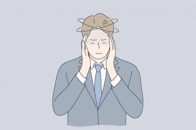 Stress mentale, affari, dolore, depressione, frustrazione, concetto di pensiero