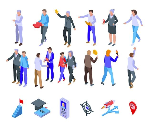 Set di icone del mentore. insieme isometrico delle icone del mentore per il web isolato su priorità bassa bianca