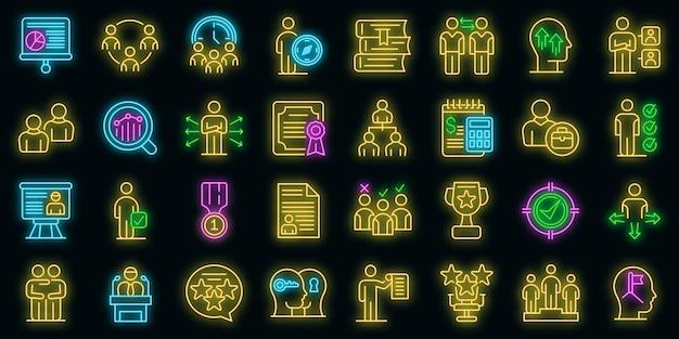 Set di icone di mentore. contorno set di icone vettoriali mentore colore neon su nero